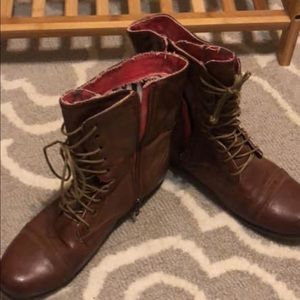 Women's brown combat boots